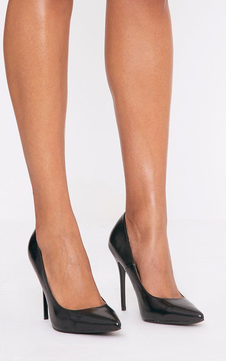 Julieta Black PU Stiletto Court Shoe