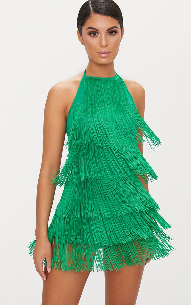 Bright Green Tassel Playsuit