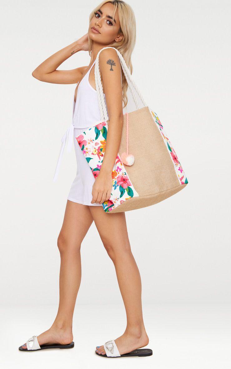 Pink Floral Pom Pom Beach Bag