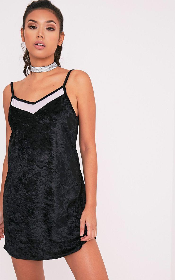Carmela Black Velvet Mesh Insert Swing Dress