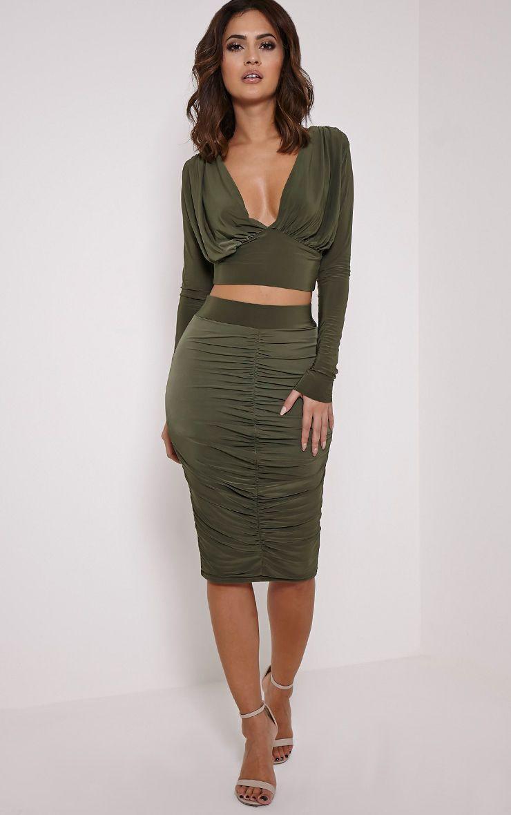 Nicole Khaki Slinky Ruched Midi Skirt 1