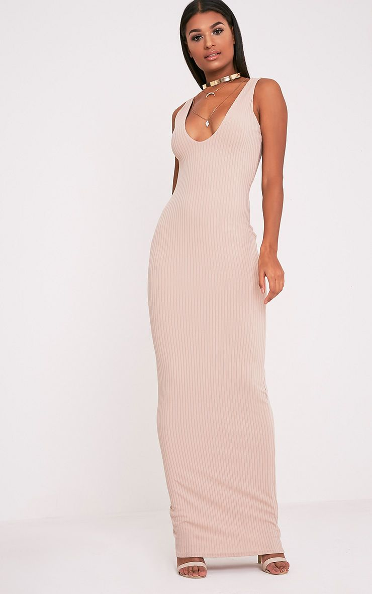 Decota Nude Ribbed Plunge Maxi Dress 1