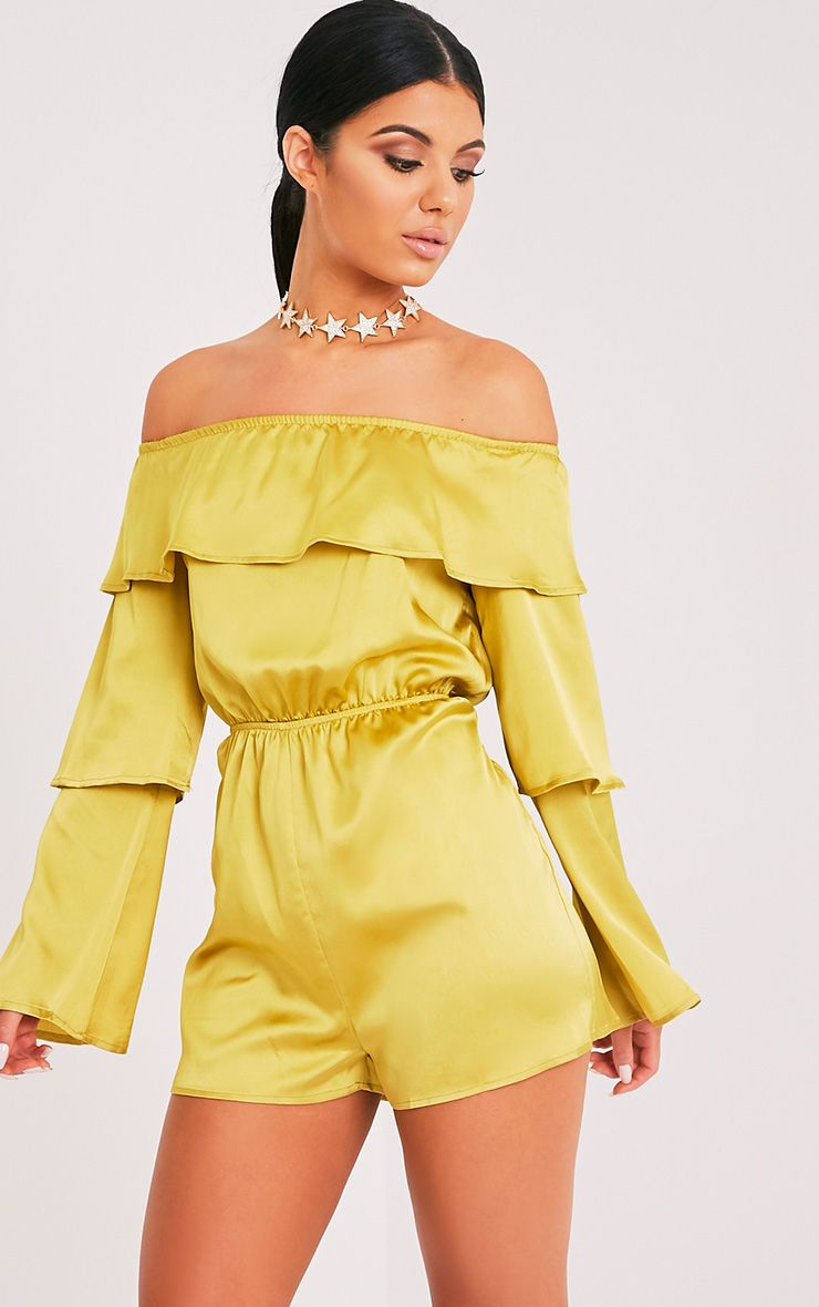 Tiffany Dark Lime Frill Satin Playsuit