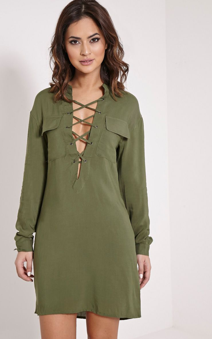Jovi Khaki Oversized Lace Up Utility Shirt Dress 1