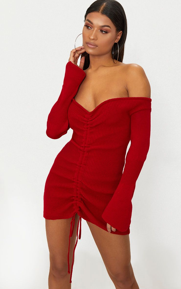 Red Ruched Knit Dress