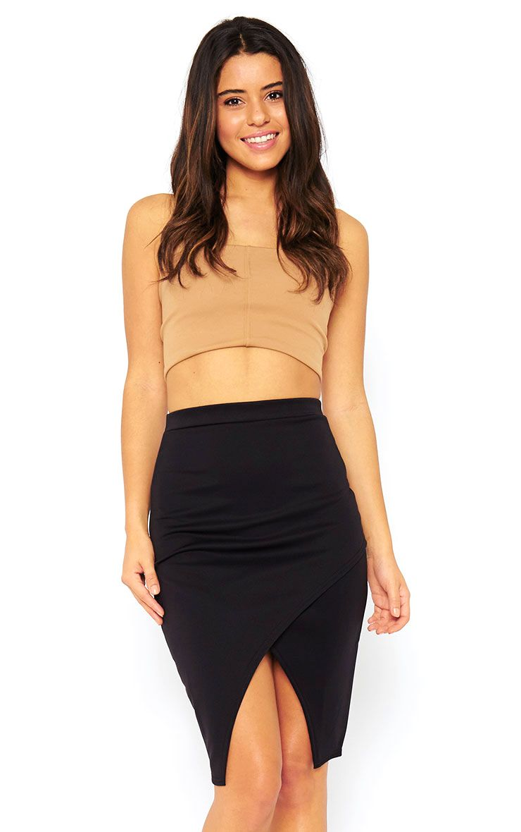 Melrose Black Scuba Midi Skirt 1