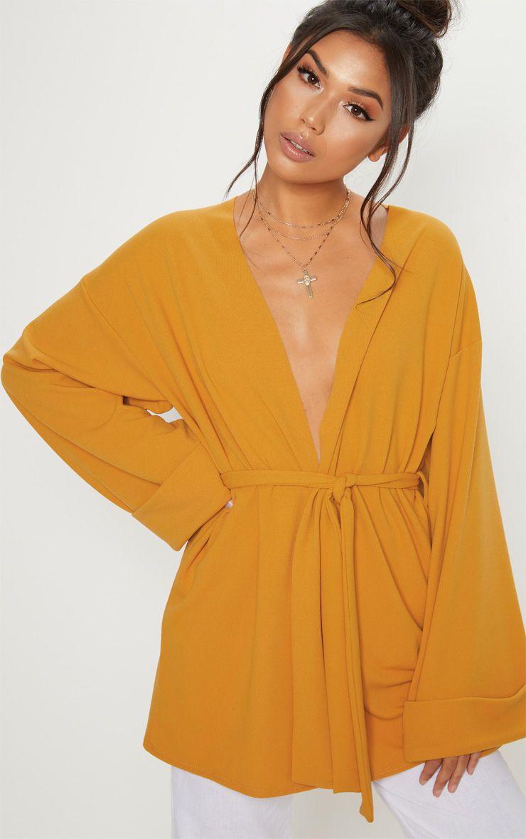 Mustard Belted Oversized Sleeve Blazer