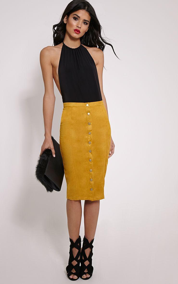 Meemee Mustard Button Front Suede Midi Skirt 1