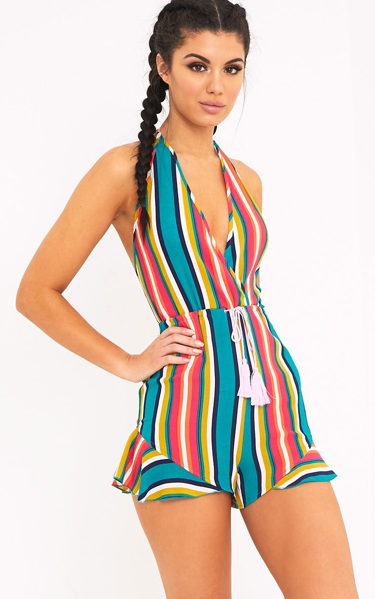 Kelis Multi Stripe Beachwear Playsuit  1