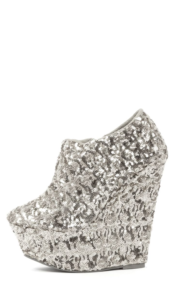 Abella Silver Sequin Wedge Boot  1