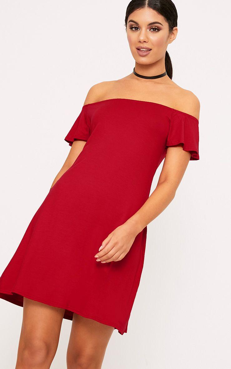 Manina Red Jersey Bardot Swing Dress