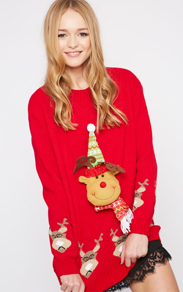 Jelissa Red 3D Rudolph Head Christmas Jumper 1