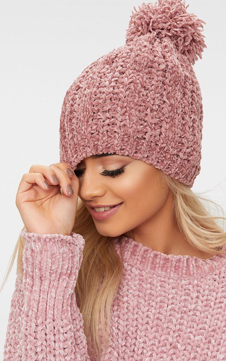 Rose Pom Pom Chenille Beanie Hat 1