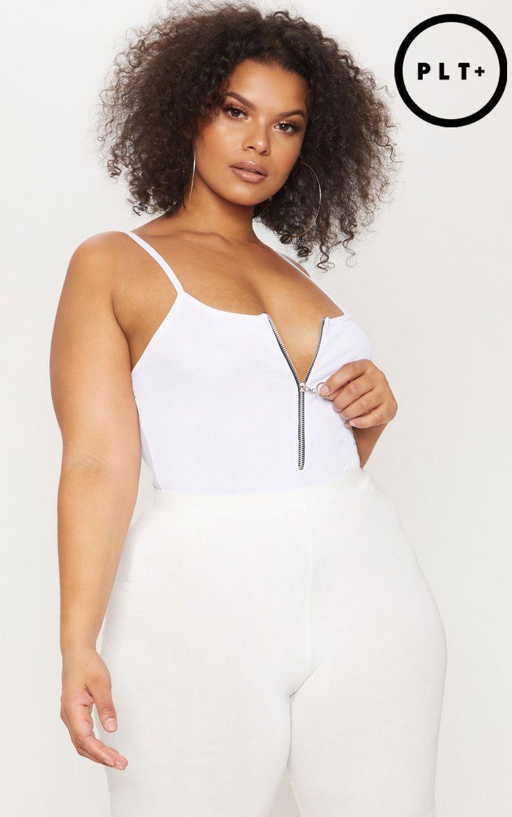 Plus White Ribbed Ring Pull Bodysuit