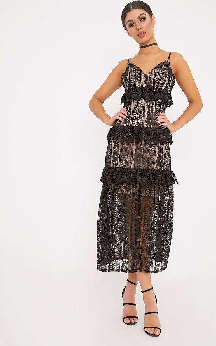 Remi Black Lace Tiered Midi Dress