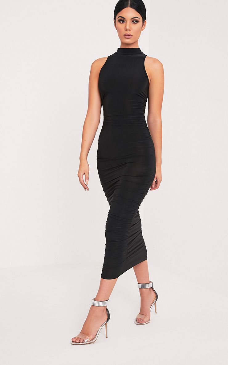 Alabama Black Slinky Ruched Sides Dress