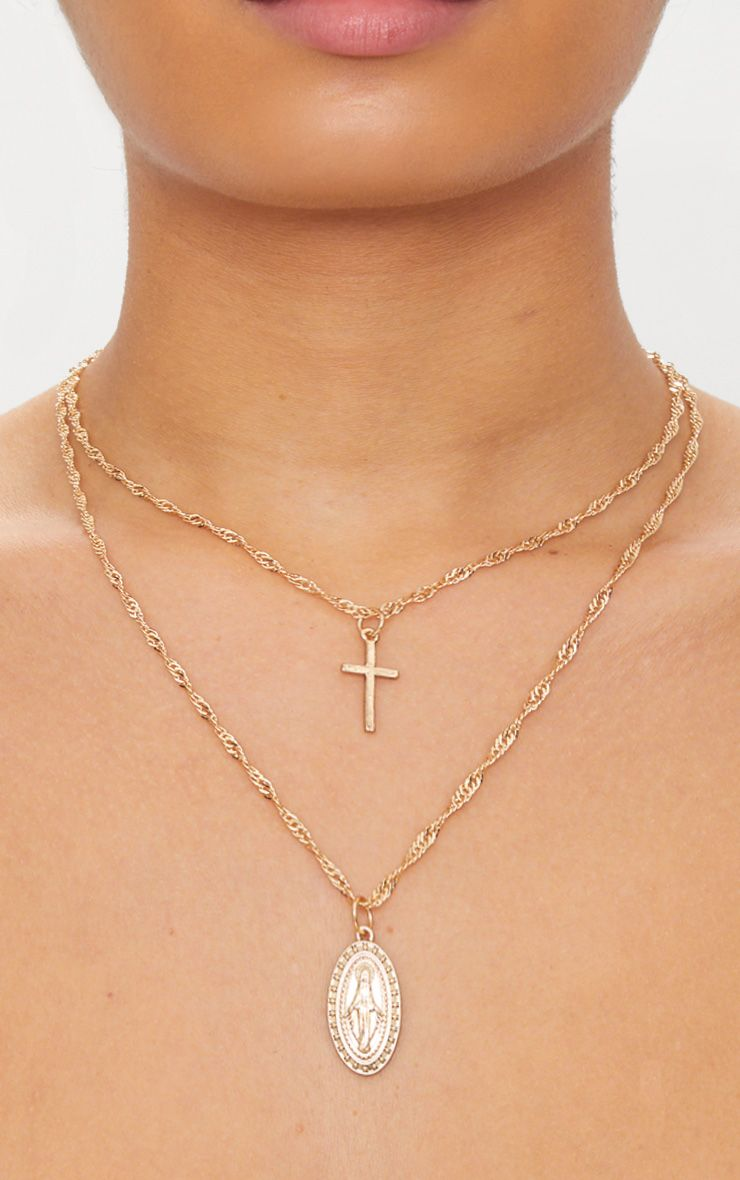 Gold Renaissance Double Layer Cross and Pendant Necklace