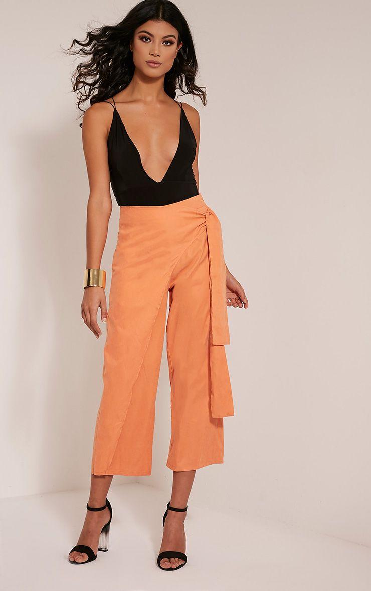 Shirley Pastel Orange Wrap Tie Culottes