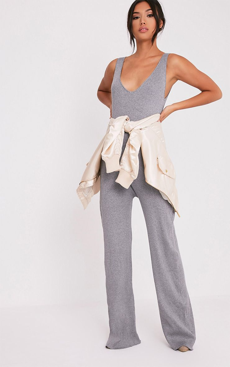 Kirstina Grey Ribbed Wide Leg Knitted Jumpsuit