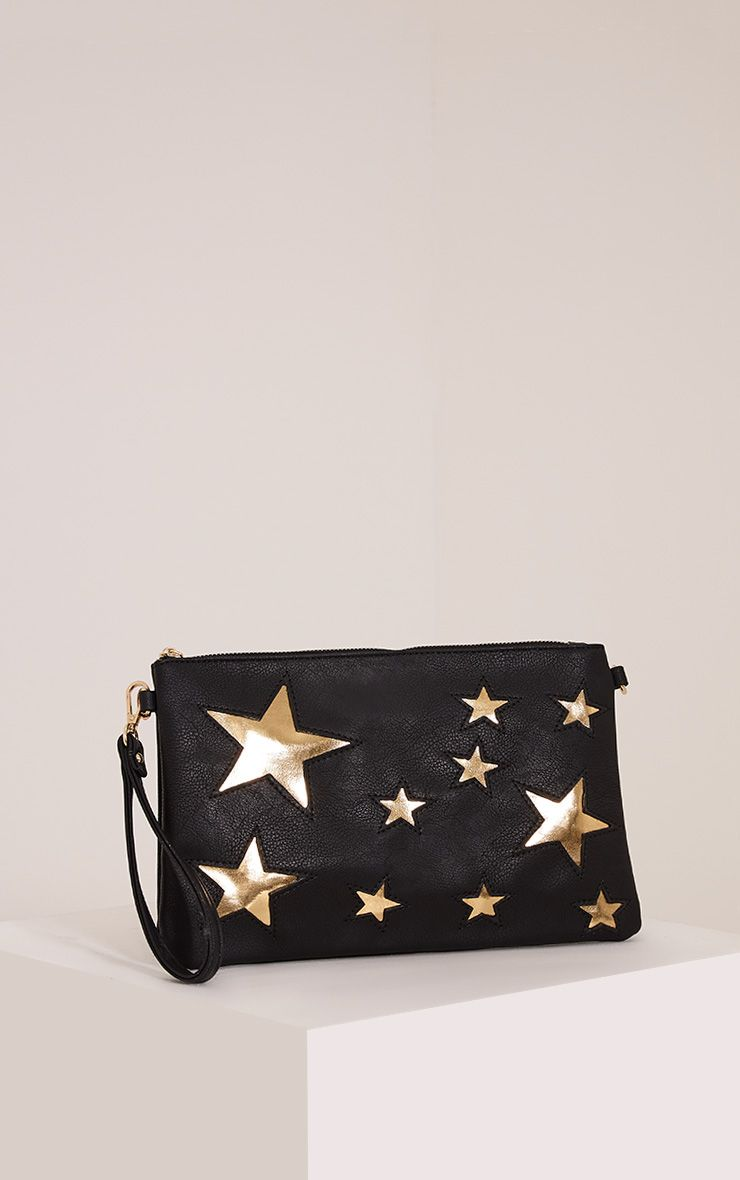 Gabrielle Black Star Detail Clutch Bag