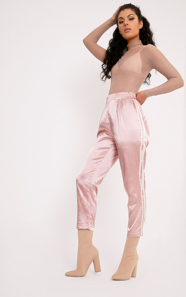 Shannon Pink Satin Side Stripe Boxer Joggers