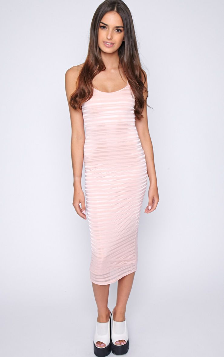 Coco Pink Stripe Midi Dress 1