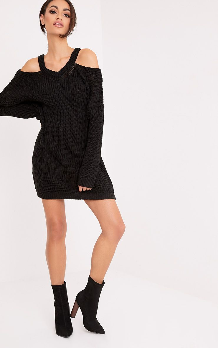Jacqui Black Cut Out Detail Knitted Dress