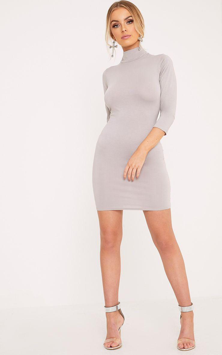 Basic Dove Grey High Neck Jersey Mini Dress