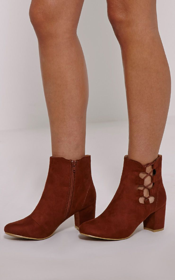 Genevieve Tan Lace Up Side Heel Ankle Boots 1