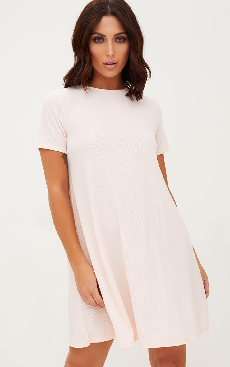 Nude Ribbed Cap Sleeve Swing Dress