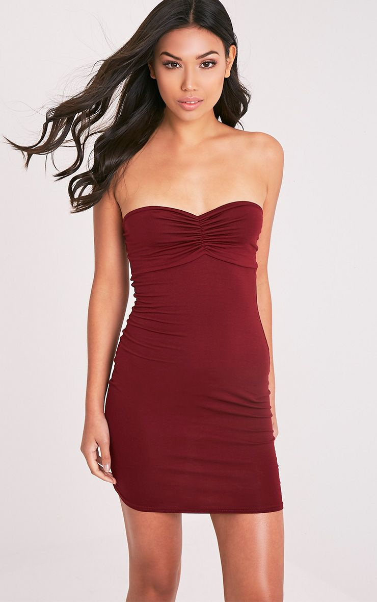 Leanna Burgundy Jersey Bandeau Bodycon Dress