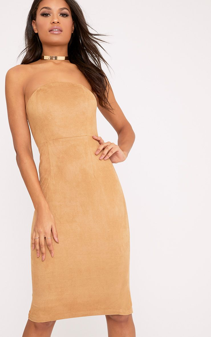 Kiya Tan Faux Suede Bandeau Midi Dress