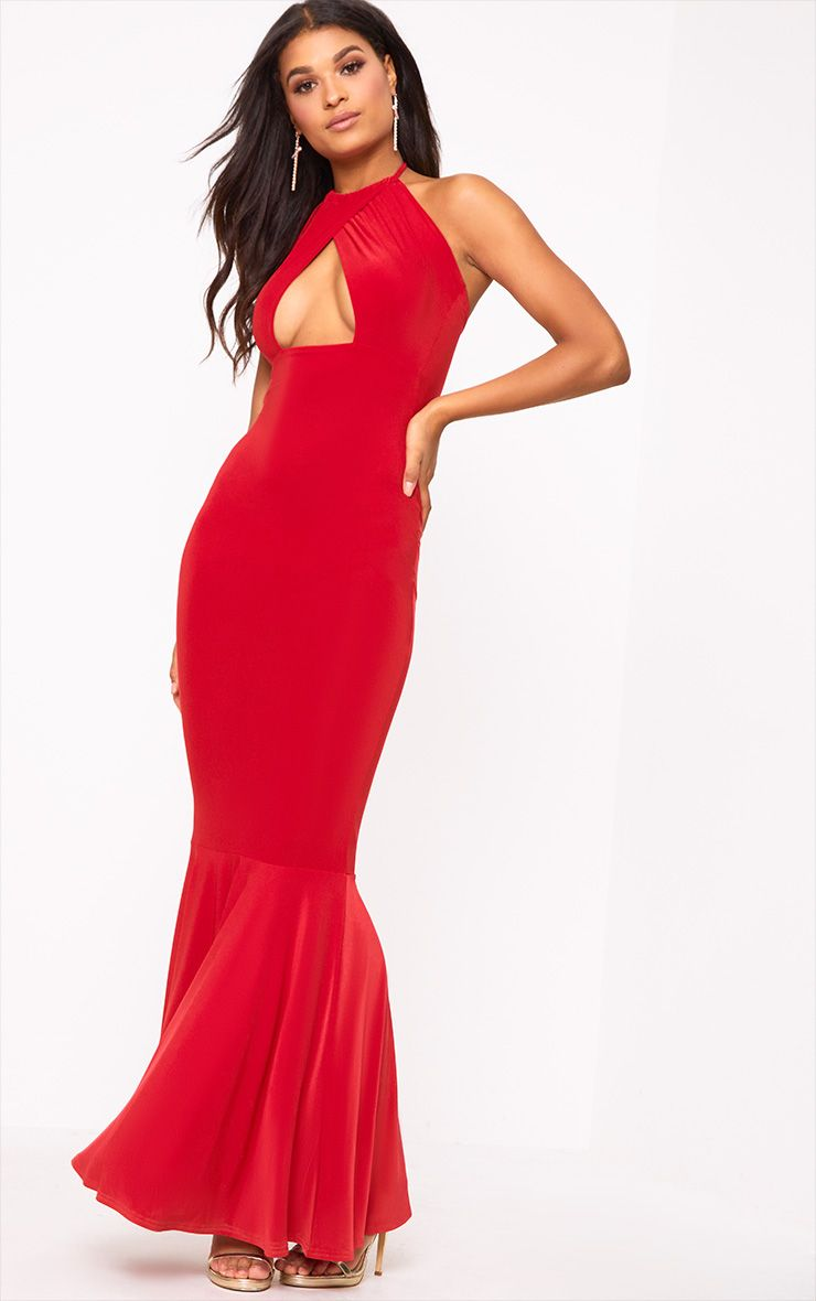 Red Halterneck Cut Out Maxi Dress