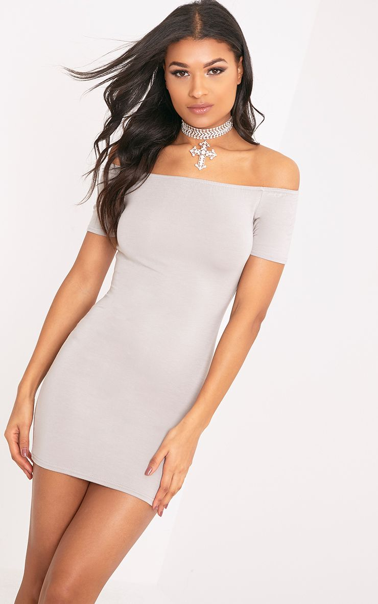 Basic Dove Grey Short Sleeve Bardot Bodycon Dress  1