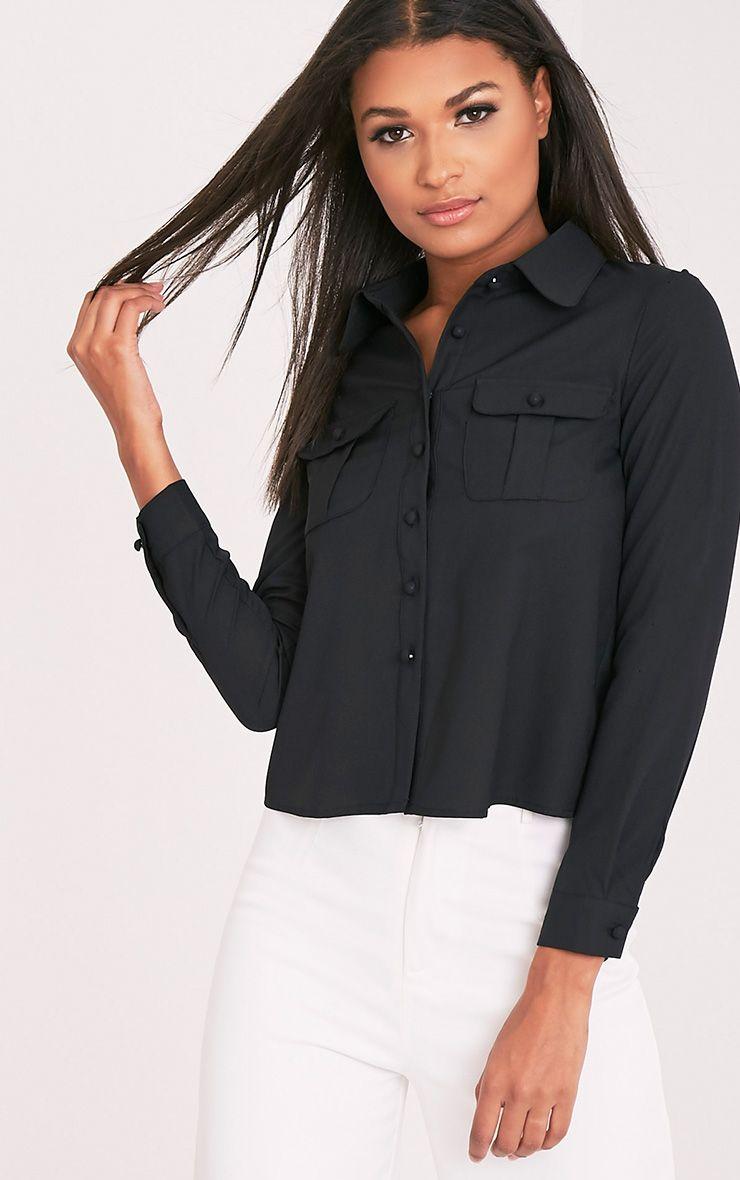 Loulou Black Crop Long Sleeve Shirt