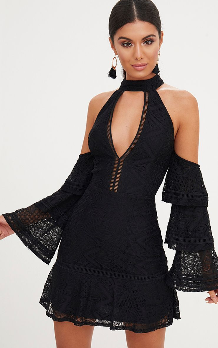 Black Lace Cold Shoulder Frill Sleeve Shift Dress