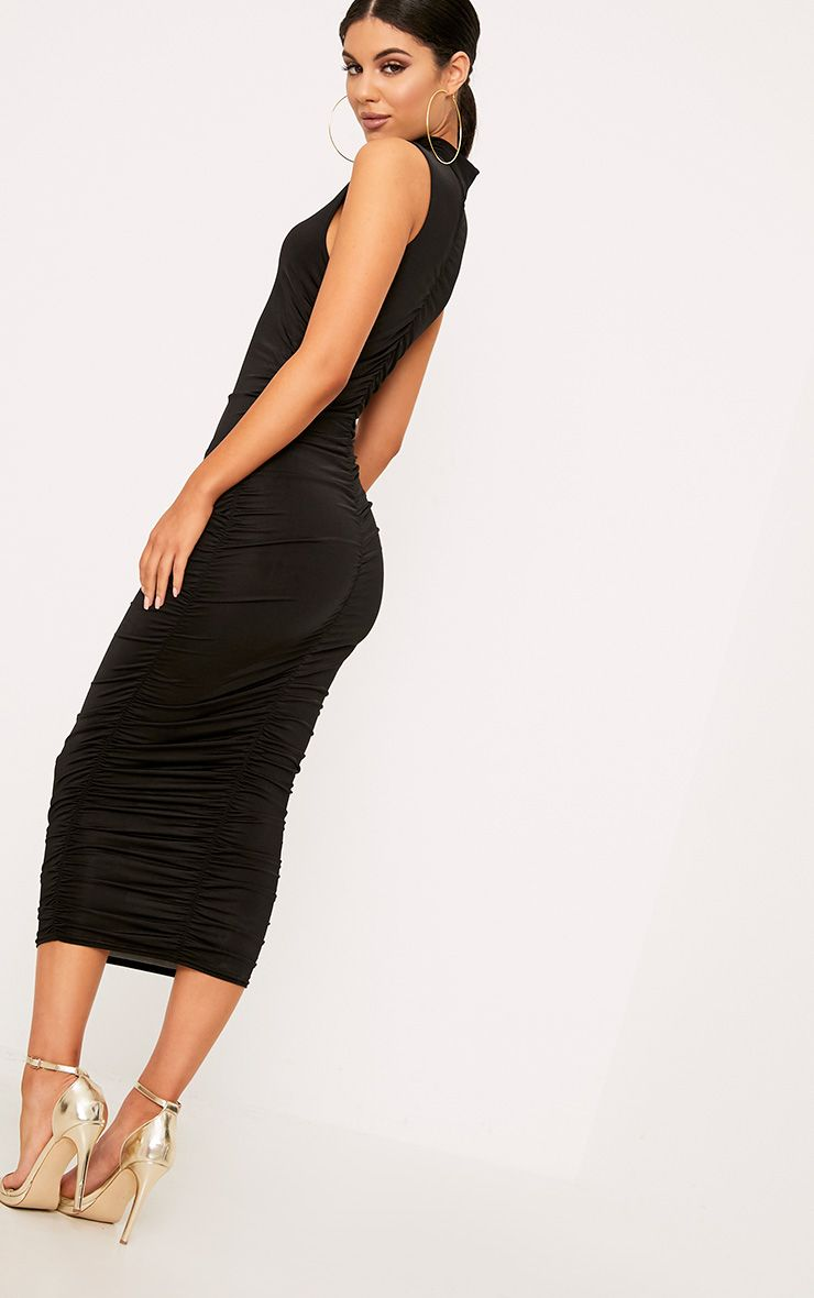 Black Sleeveless Ruched Detail Midi Dresses