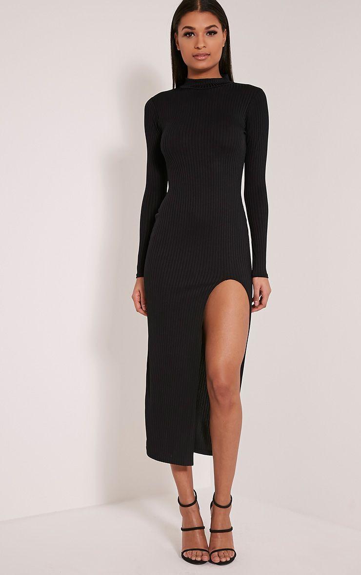 Sia Black High Neck Split Front Ribbed Midi Dress 1