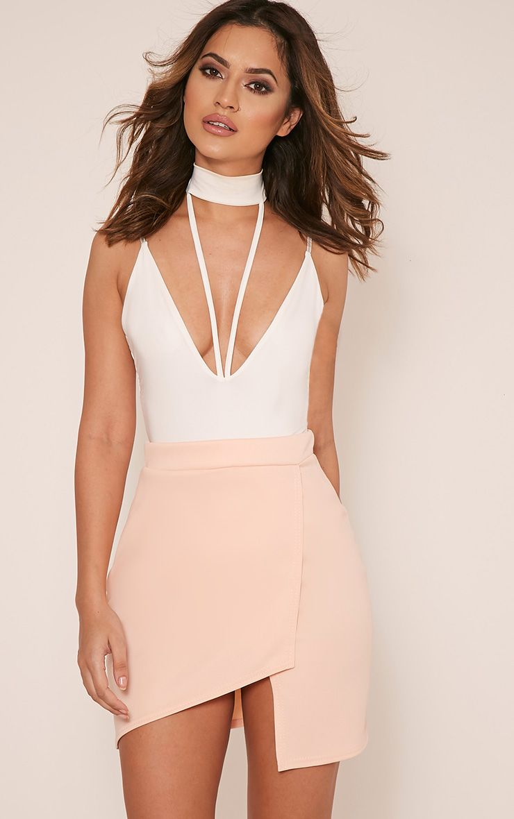 Marcella Nude Asymmetric Wrap Mini Skirt 1