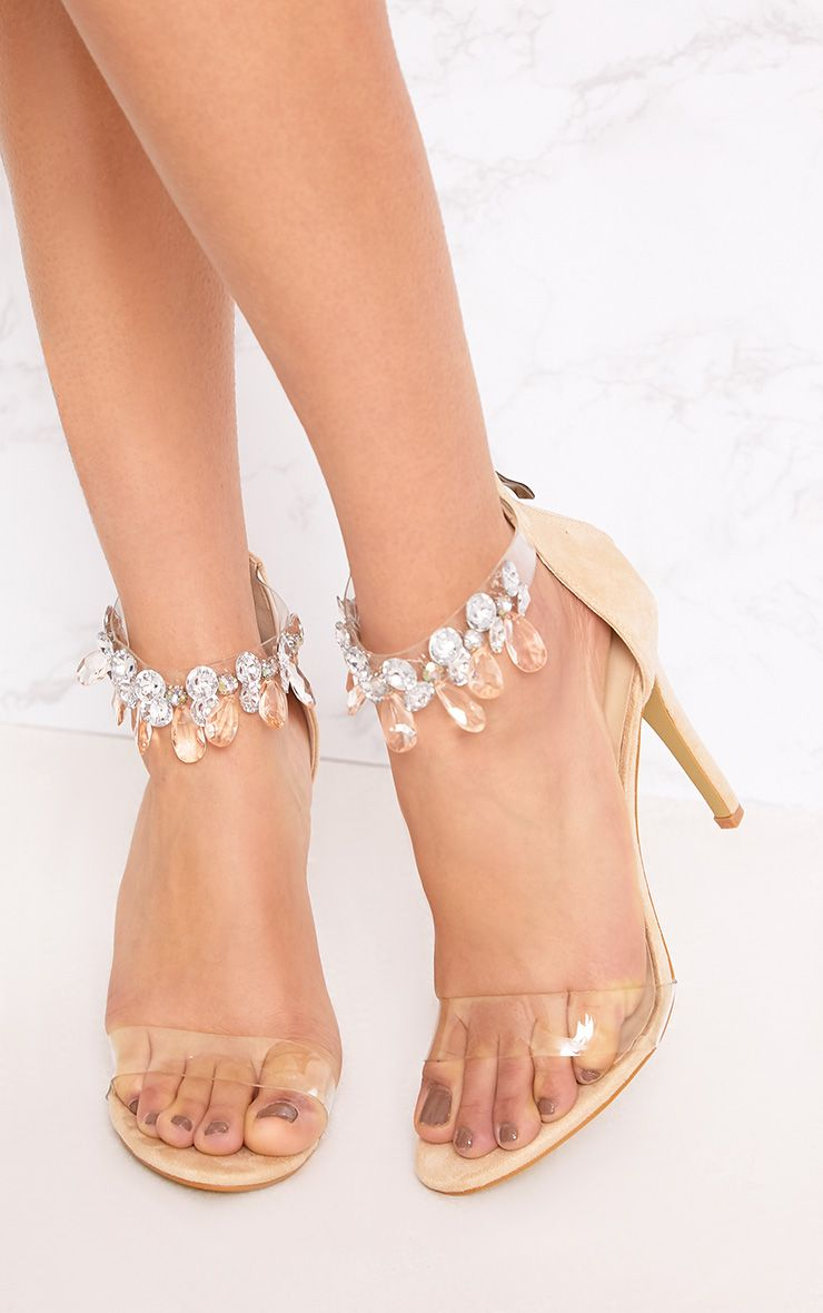 Cream Jewelled Strap Heels