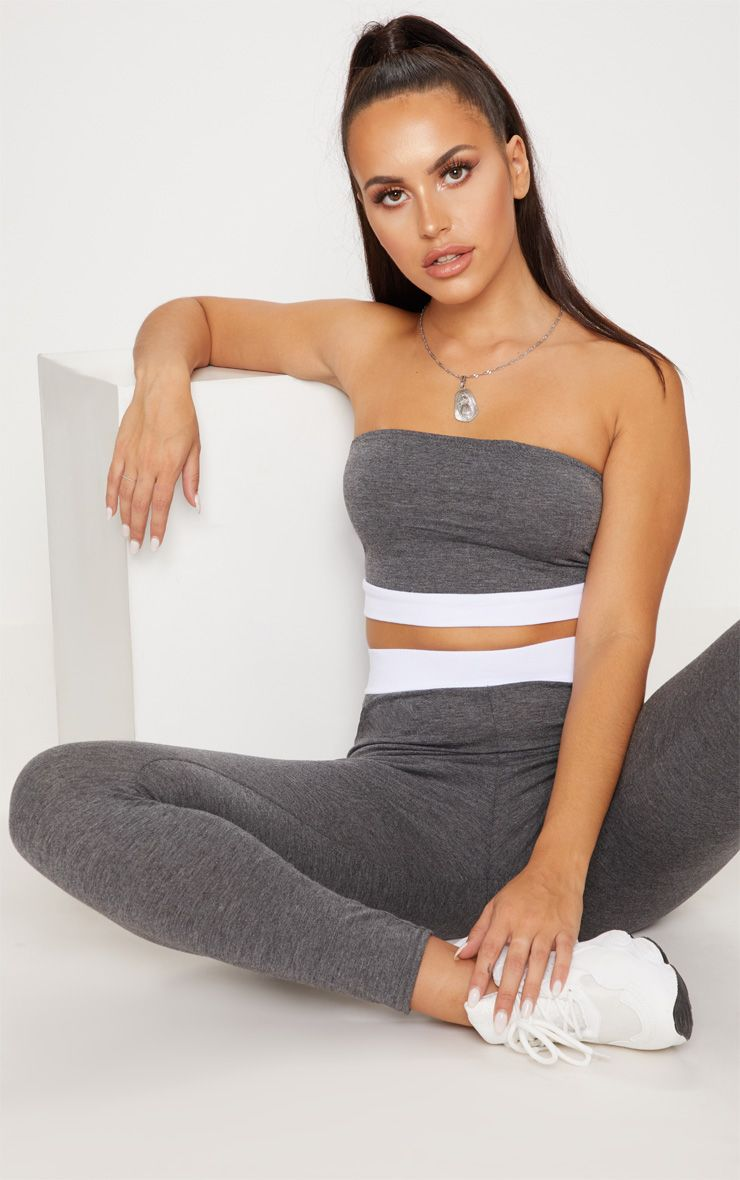Dark Grey Contrast Hem Bandeau Top