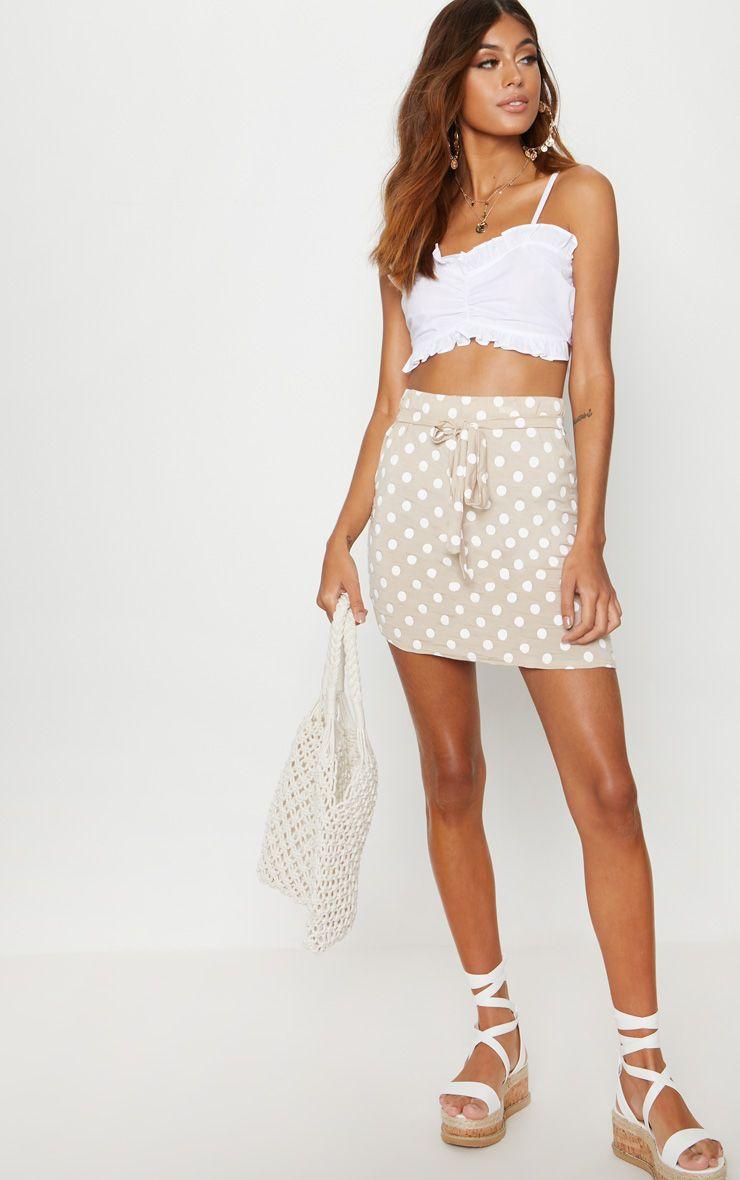 Stone Jersey Polkadot Asymmetric Skirt