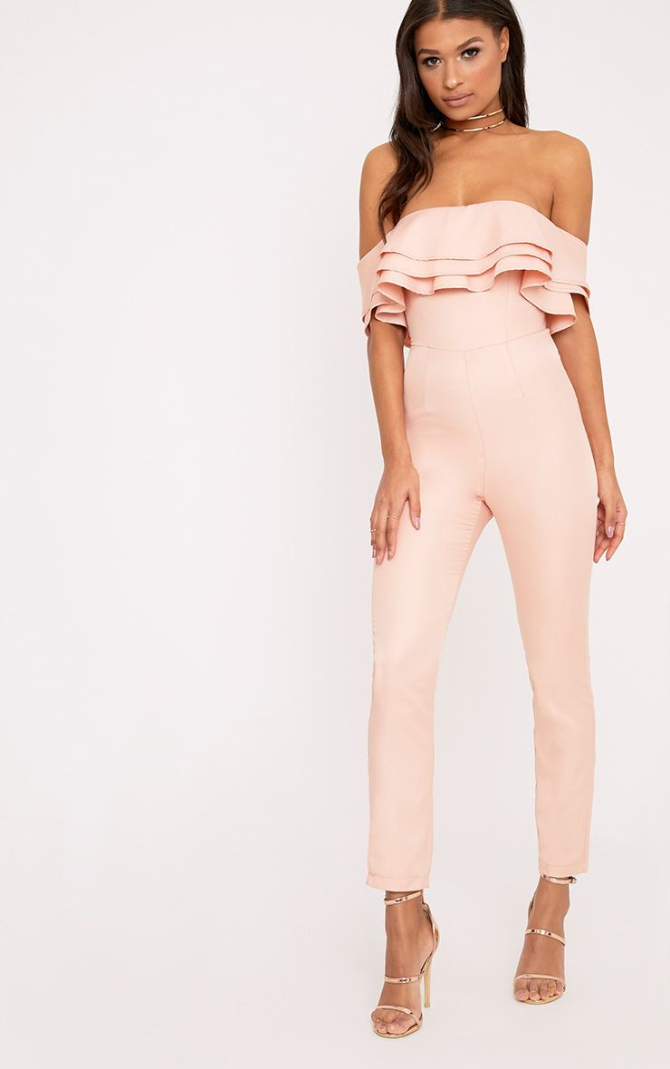 Heather Pink Triple Frill Bandeau Jumpsuit