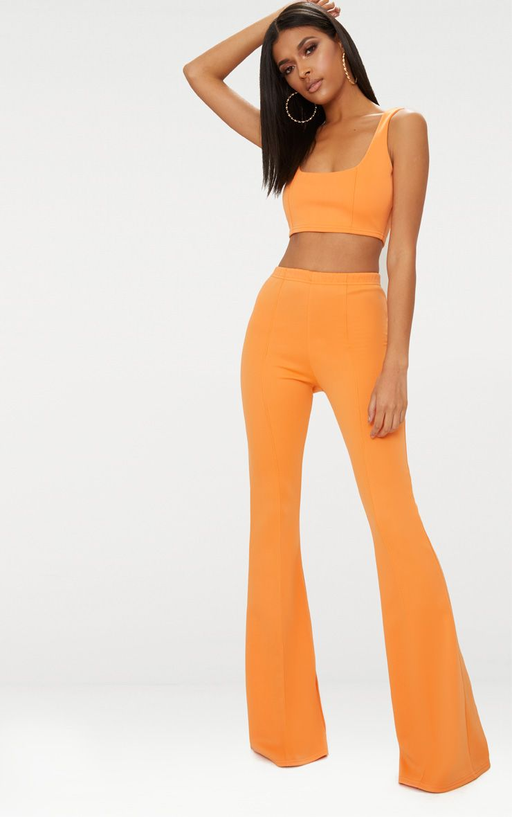 Tangerine High Waist Extreme Flare Long Leg Trousers