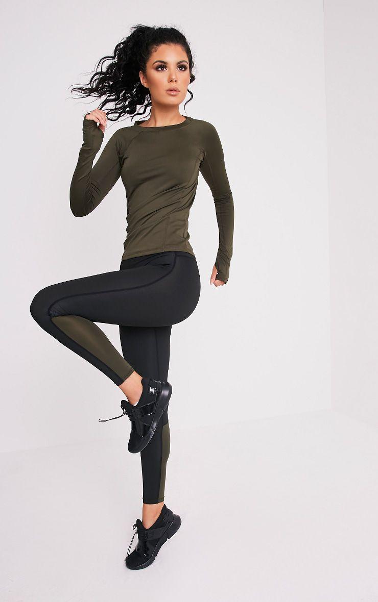 Alexis Khaki Panelled Gym Leggings