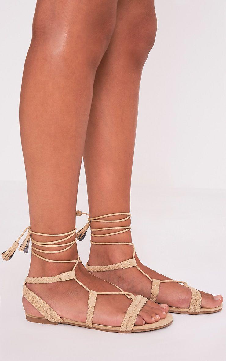 Catia Beige Lace Up Detail Sandals 2