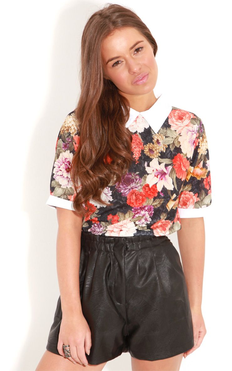 Shea Orange Floral Collar Top 1