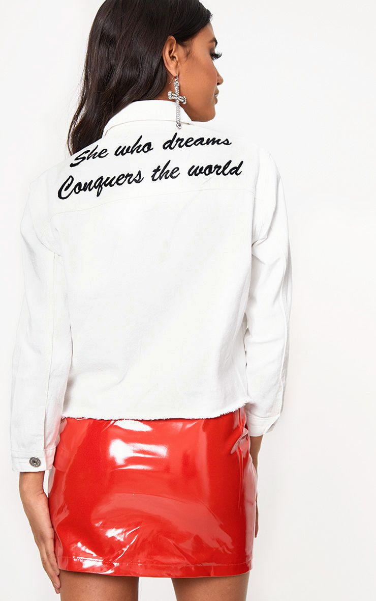 White She Who Dreams Slogan Denim Jacket