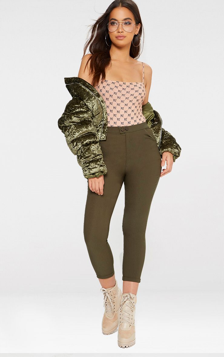 Khaki High Waisted Jeggings