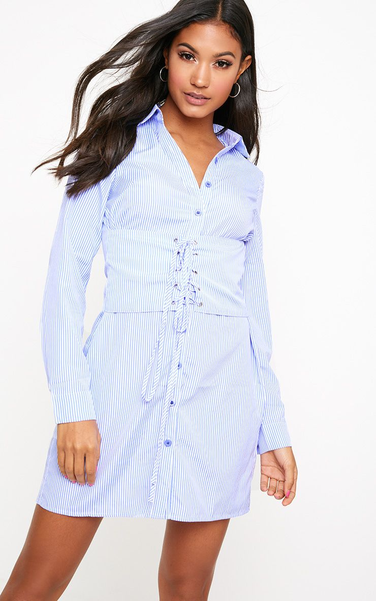 Blue Corset Lace Up Open Shirt Dress